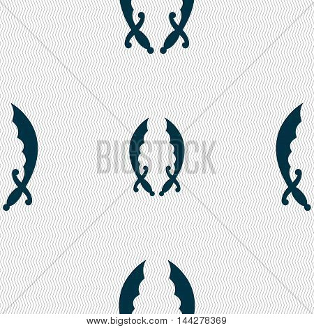 Saber Sign. Seamless Pattern With Geometric Texture. Vector