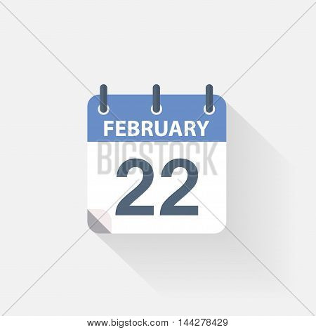 22 february calendar icon on grey background