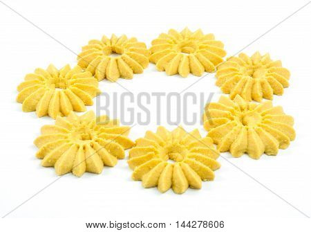 Group of cookies set on white background.