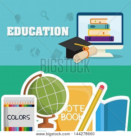 graduation cap books colors computer diploma pencil back to shool education  icon set. Colorful and flat design. Vector illustration