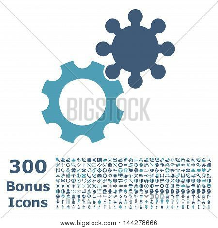 Gears icon with 300 bonus icons. Vector illustration style is flat iconic bicolor symbols, cyan and blue colors, white background.