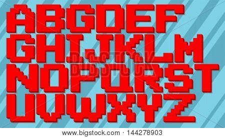 A vector illustration of English red and blue pixel alphabet set