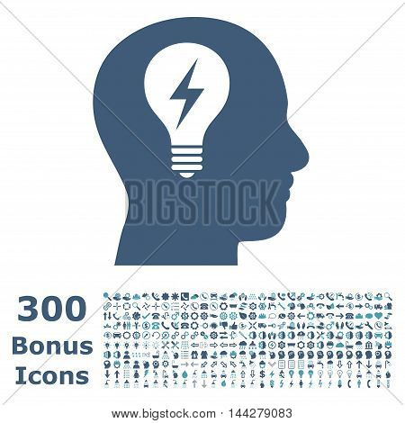 Head Bulb icon with 300 bonus icons. Vector illustration style is flat iconic bicolor symbols, cyan and blue colors, white background.