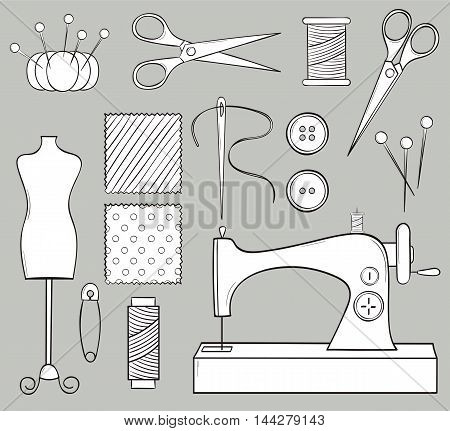 Vector hand drawn doodle black and white sewing set