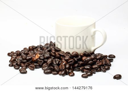 Coffee bean roasted whole black on white background