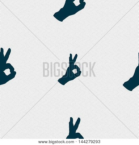 Gesture Ok Sign. Seamless Pattern With Geometric Texture. Vector