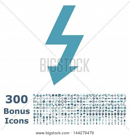 High Voltage icon with 300 bonus icons. Vector illustration style is flat iconic bicolor symbols, cyan and blue colors, white background.