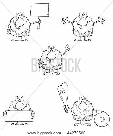 Black And White Male Caveman Cartoon Mascot Character. Collection Set