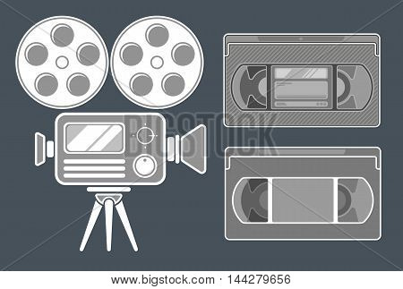 A vector illustration of Movie grey icon set on dark background