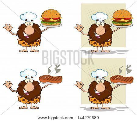 Funny Male Caveman Cartoon Mascot Character 9. Collection Set