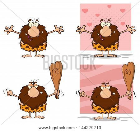 Funny Male Caveman Cartoon Mascot Character 10. Collection Set