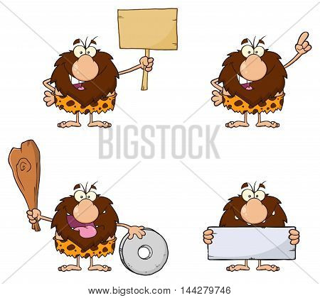 Funny Male Caveman Cartoon Mascot Character 8. Collection Set