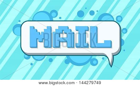 A vector illustration of Pixel art mail text on blue background