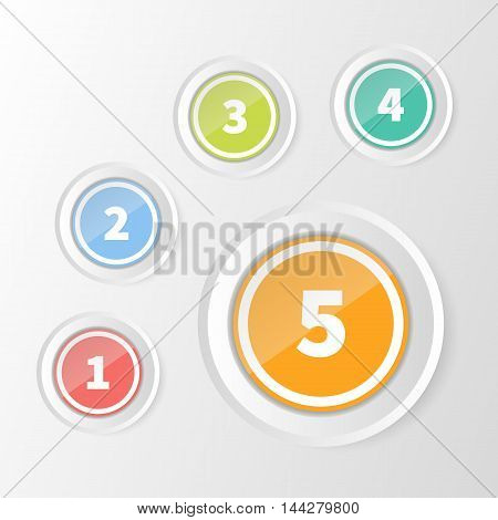 Vector Infographics 1 to 5 Step colorful circle frames