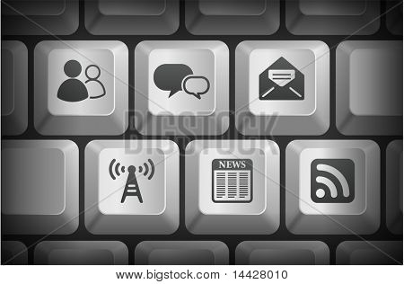 Internet Information Icons on Computer Keyboard Buttons Original Illustration