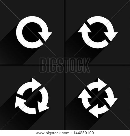 4 white arrow loop, refresh, reload, rotation icon. Volume 03. Flat icon with black long shadow on gray background. Simple, solid, plain, minimal style. Vector illustration web design elements 8 eps