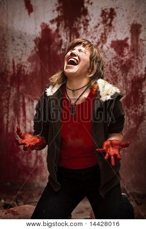 Crying Woman With Bloodstained Hands