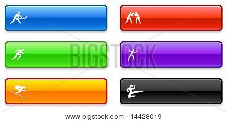 Sport Icons on Long Button Collection Original Illustration
