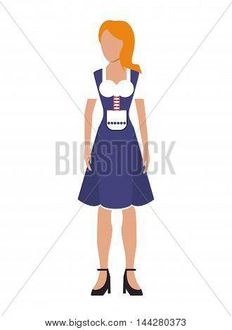 flat design german bavarian woman icon vector illustration