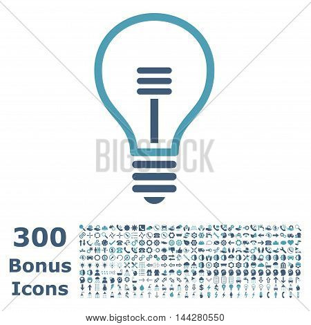 Lamp Bulb icon with 300 bonus icons. Vector illustration style is flat iconic bicolor symbols, cyan and blue colors, white background.