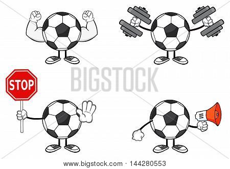Soccer Ball Faceless Cartoon Mascot Character 3. Collection Set Isolated On White Background