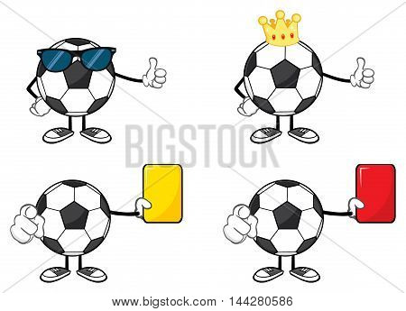 Soccer Ball Faceless Cartoon Mascot Character. Collection Set Isolated On White Background