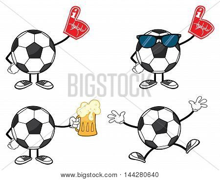 Soccer Ball Faceless Cartoon Mascot Character 7. Collection Set Isolated On White Background