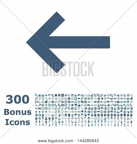 Left Arrow icon with 300 bonus icons. Vector illustration style is flat iconic bicolor symbols, cyan and blue colors, white background.