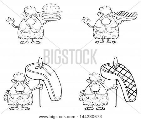 Black And White Smiling Cave Woman Cartoon Mascot Character 1. Collection Set Isolated On White Background