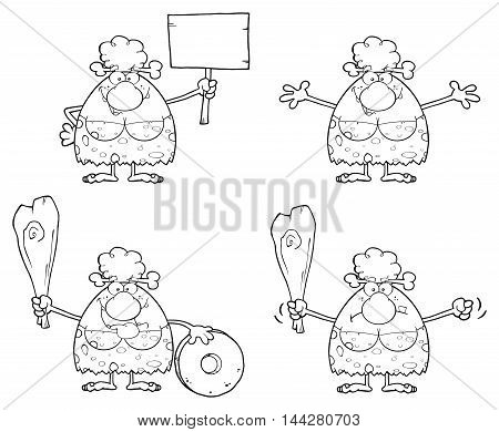 Black And White Smiling Cave Woman Cartoon Mascot Character 2. Collection Set Isolated On White Background