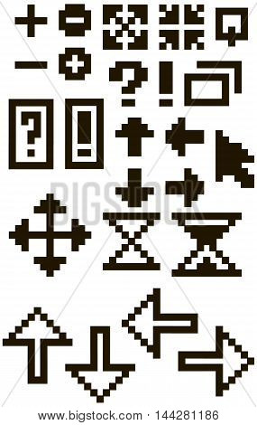A vector illustration Set of different black pixel font symbols