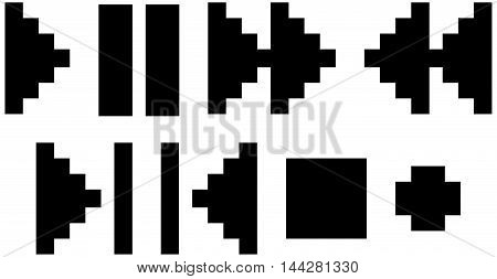 A vector illustration Set of different black pixel icons and symbols for player