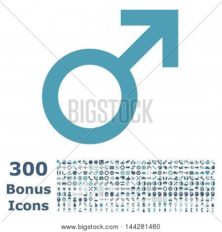 Male Symbol icon with 300 bonus icons. Vector illustration style is flat iconic bicolor symbols, cyan and blue colors, white background.