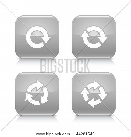 4 arrow icon. White repeat, reload, rotation, refresh sign. Set 03. Gray rounded square button with gray reflection, black shadow on white background. Vector illustration web design element in 8 eps