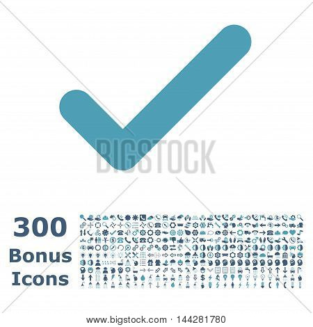 Ok icon with 300 bonus icons. Vector illustration style is flat iconic bicolor symbols, cyan and blue colors, white background.