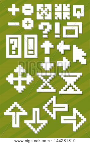 A vector illustration Set of different white pixel font symbols