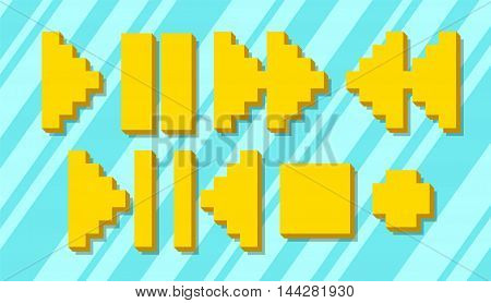 A vector illustration Set of different yellow pixel icons and symbols for player