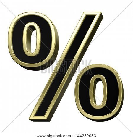 Percent sign from black with shiny gold frame alphabet set, isolated on white. 3D illustration.