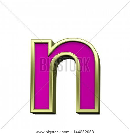 One lower case letter from pink with gold shiny frame alphabet set, isolated on white. 3D illustration.