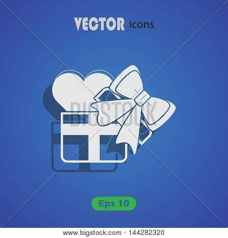 Heart in a gift - Valentine's Day vector icon