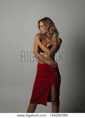 beautiful young blonde women posing in studio