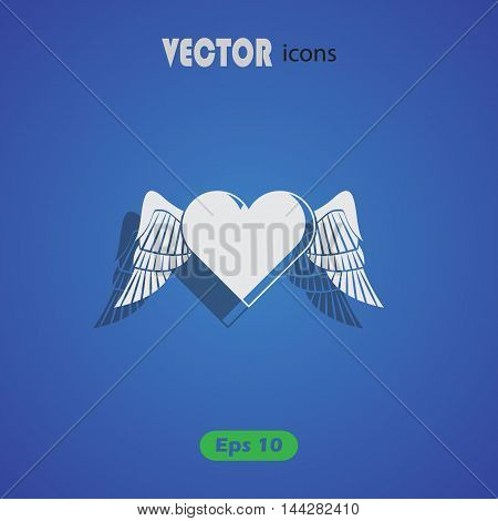 Heart with wings - Valentine's Day vector icon
