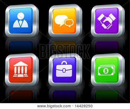 Economy Icons on Square Button Collection with Metallic Rim Original Illustration