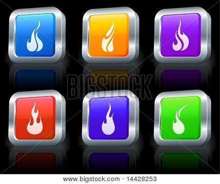 Fire Icons on Square Button Collection with Metallic Rim Original Illustration