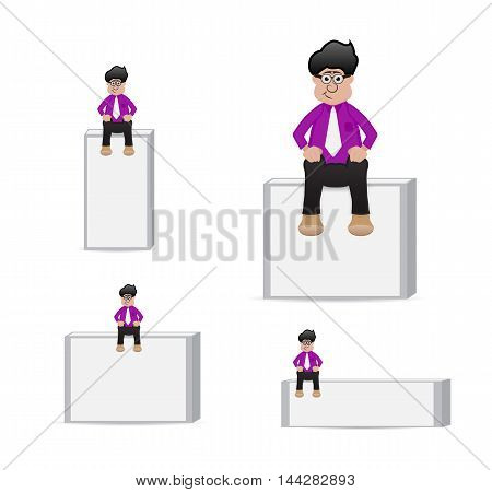 cartoon businessman sit on the top empty banner for your text