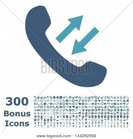 Phone Talking icon with 300 bonus icons. Vector illustration style is flat iconic bicolor symbols, cyan and blue colors, white background.