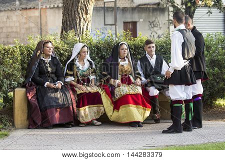SELARGIUS, ITALY - September 14, 2014: Former marriage Selargino - Sardinia - group of people in traditional Sardinian costume