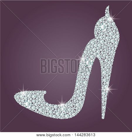 Elegant ladies high heels shoe shape, made with shiny diamonds. Isolated on the round gradient dark violet background. Vector illustration.