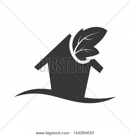 leaf house home ecology  silhouette icon. Flat and Isolated design. Vector illustration