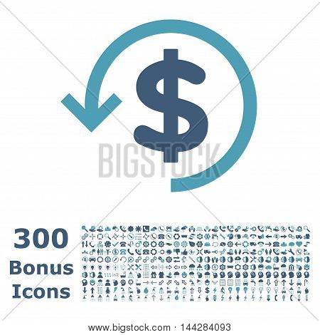 Refund icon with 300 bonus icons. Vector illustration style is flat iconic bicolor symbols, cyan and blue colors, white background.